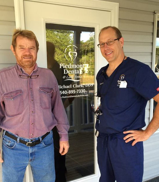 Joe Bladen with Dr. Clark on Piedmont Dental @ Lake Anna's Grand Opening Day.